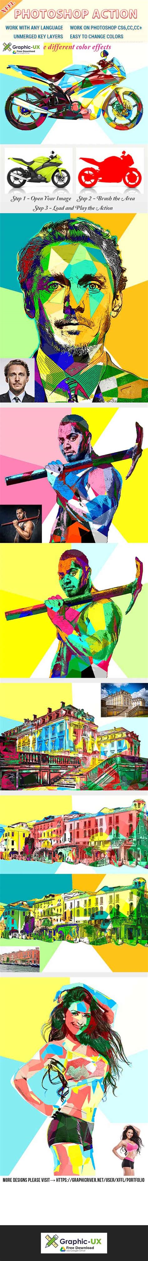 color block effect photoshop action  graphicux