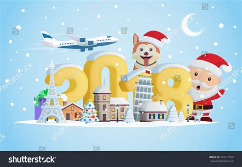how is new year vacation new year 2018 greeting card flat stock vector 749375938