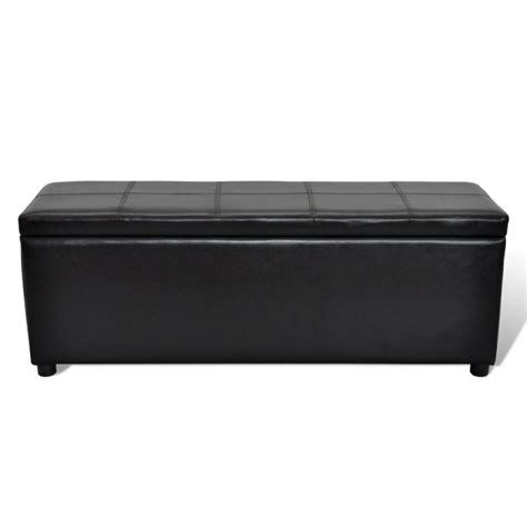 black faux leather ottoman storage bench faux leather storage ottoman bench in black 118cm buy
