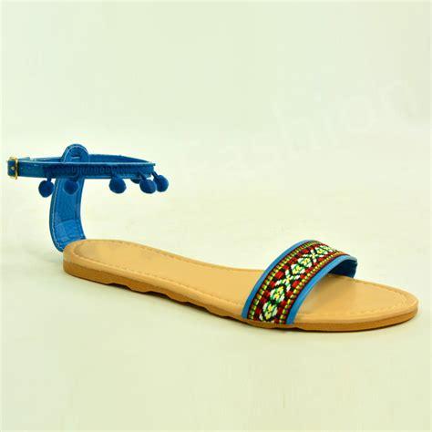 Sandal Pompom Flat new womens flat sandal ankle pom pom