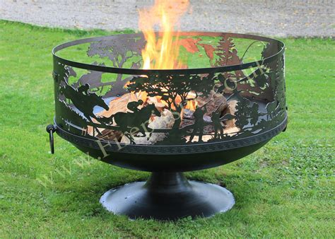 Fire Pit Sporting Scene 80 With Pedestal Base Firepits Uk Firepit Uk