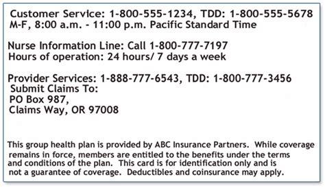 Sample Insurance Card   Providence Oregon