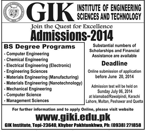 Chemical Engineering Degree With Mba by Admission In Gik For Bs Programs Current