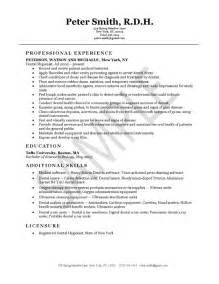 Dental Hygiene Sle Resume by Dental Hygienist Resume Exle