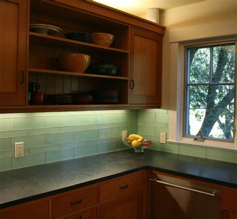 Green Kitchen Backsplash Tile Green Glass Kitchen Backsplash Mill Valley Modern