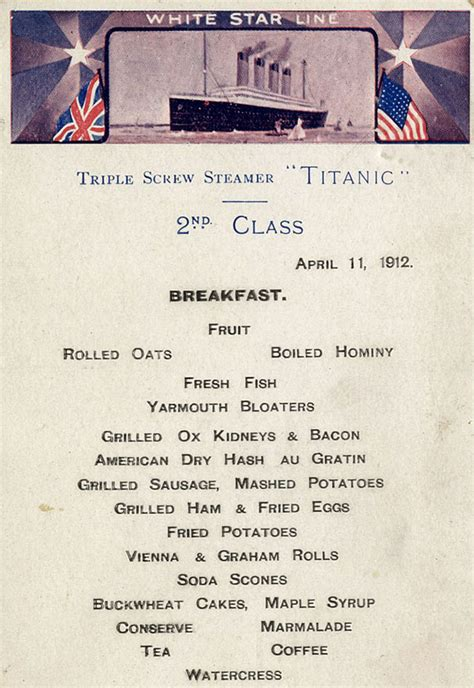 titanic second class menu titanic food menus for 1st 2nd and 3rd class passengers