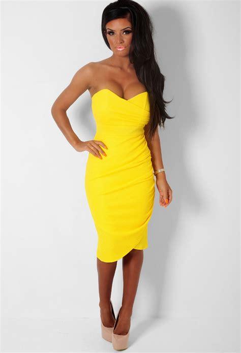 Antidote Yellow Textured Wrap Effect Bodycon Midi Dress