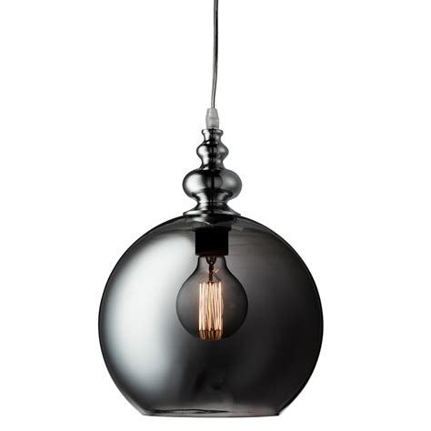 Glass Globe Pendant Lights Indiana Chrome Globe Pendant Light With Smokey Glass Glade