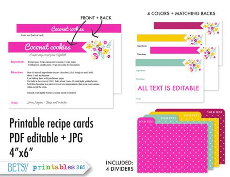 printable recipe cards 4 x 6 8 best images of editable printable recipe cards 4x6