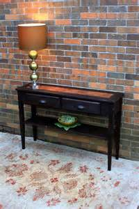 Entrance Console Table Furniture Sofa Table Entry Table Distressed Copper Inlay Reclaimed Wood Rustic Contemporary