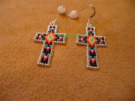 bead loom earrings beaded cross cross earrings and loom on