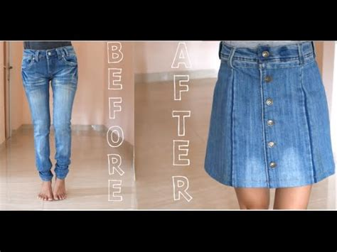 pattern for turning jeans into a skirt diy turn your old jeans into skirt youtube