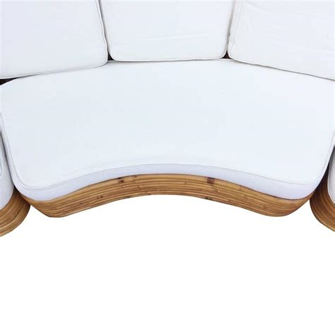 rattan curved sofa restored paul frankl style six strand rattan five seat
