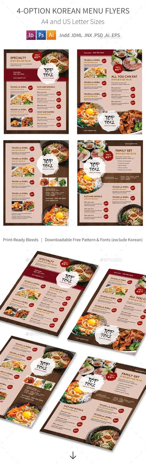 menu design korean korean restaurant menu flyers 4 options by mike pantone