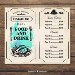 Food Menu Template Free by Menu Food And Drink Template Vector Free
