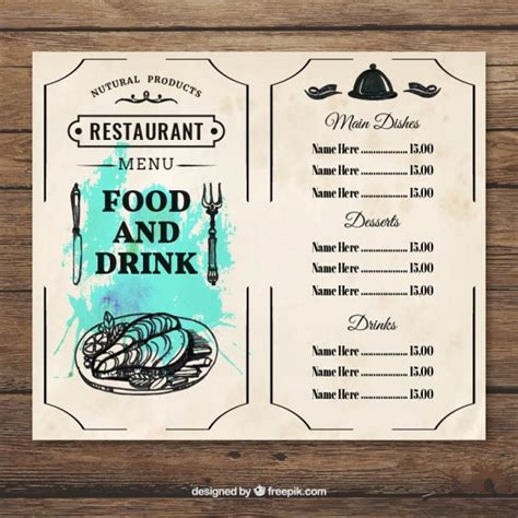 menu food and drink template vector free download