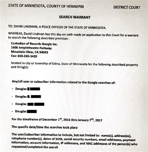 Minnesota Warrants Search Minnesota Judge Signs A Search Warrant For Personal Information On Anyone Who Googled