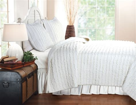 coverlet and shams buy ruffled white quilt king size with 2 shams cotton