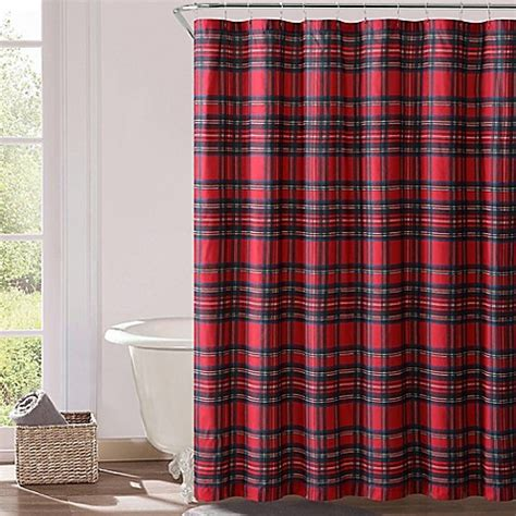 red plaid shower curtain vcny plaid shower curtain in red bed bath beyond