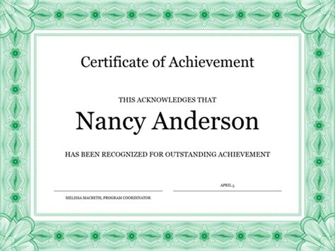 certificate of achievement green office templates