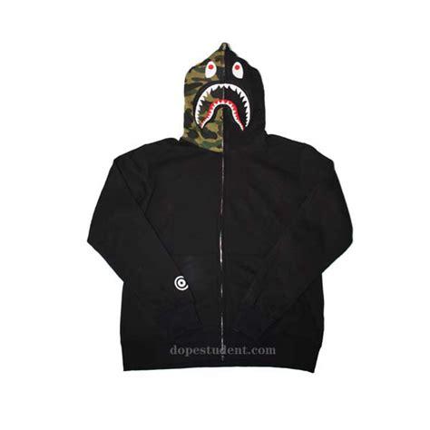 Hoodie Sweater Bape Shark Camo half camo zip bape shark hoodie dopestudent