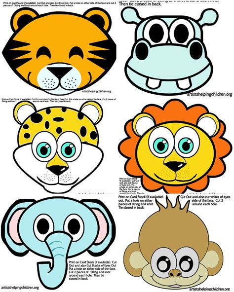 printable jungle animal masks safari jungle themed first birthday party animals