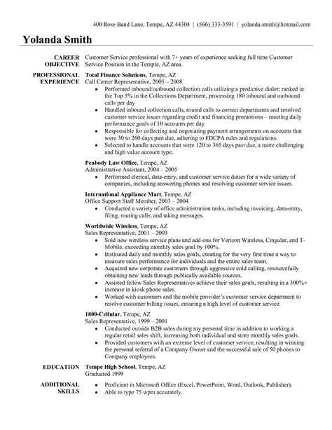 objectives for resumes for customer service objectives for resumes