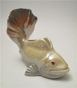 Wembley Ware Fish Vase by Signed Vintage Wembley Ware Lustre Fish Shaped Float Vase