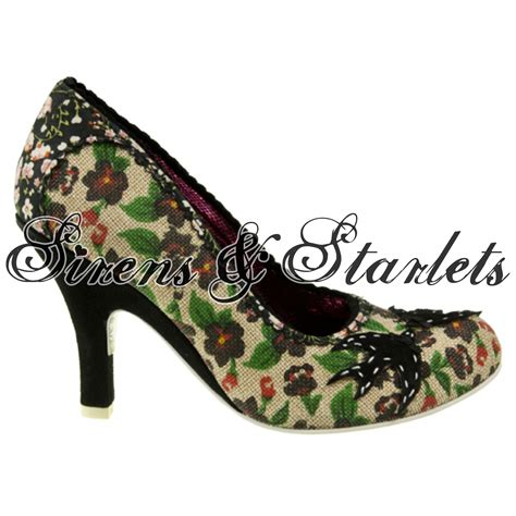 40s style shoes irregular choice green foral vintage retro 40s 50s