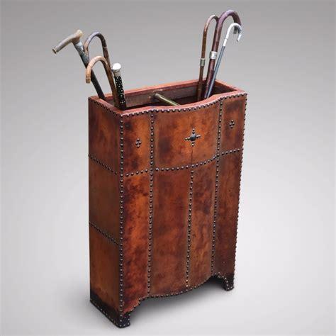 antique leather covered umbrella stand 437666
