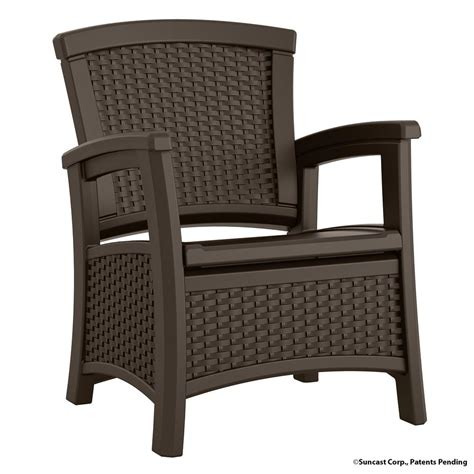 Lounge Chair With Storage Suncast Elements Resin Outdoor Lounge Chair With Storage Bmcc1800 The Home Depot