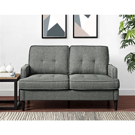 Dorel Living Lakewood Tufted Gray Loveseat Fa7476 Ls The Lakewood Tufted Sofa