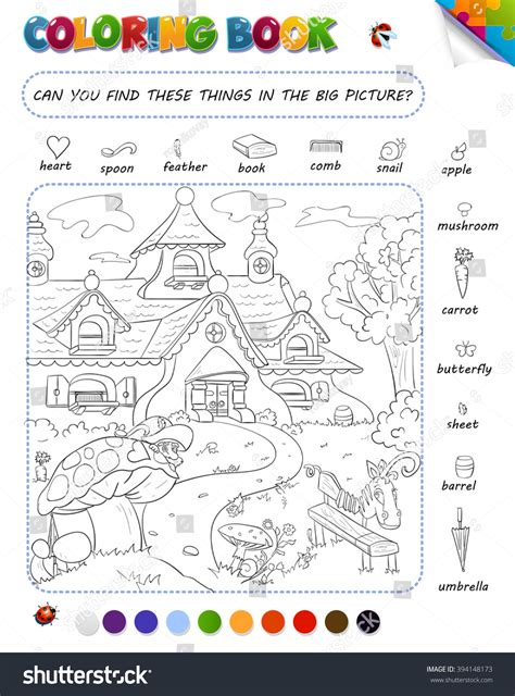 Picture Search For Coloring Book Setting Can Stock Vector 394148173
