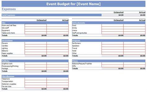special event budget template