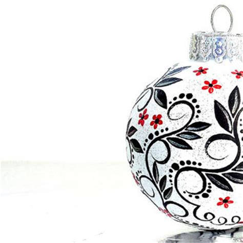 black red and white christmas ornament from pearlespainting on