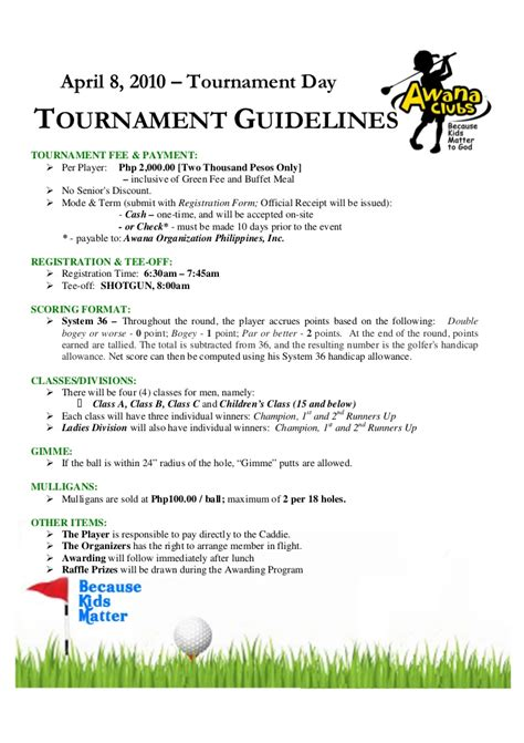 golf tournament program template golf tournament guidelines registration