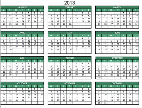 Calendar 2013 Template Excel 2013 printable pdf one page calendar yearly 2013