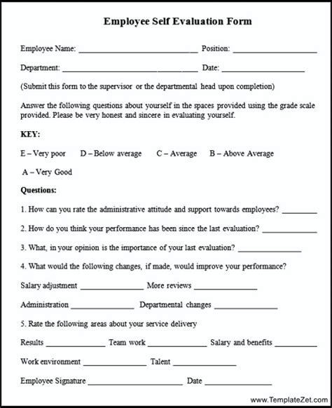 employee self evaluation form templatezet