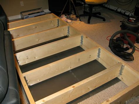 build home theater seat risers riser up the perimeter is 2 quot x10 quot the inner joists
