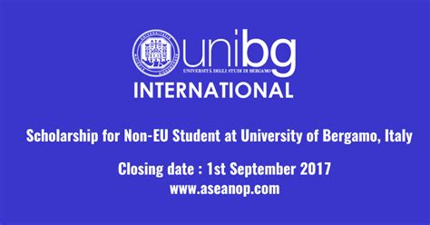 Scholarships For Mba For Eu Students by Scholarship For Non Eu Student At Of Bergamo
