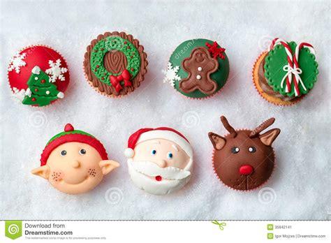 seasonal festive christmas cupcakes stock image image