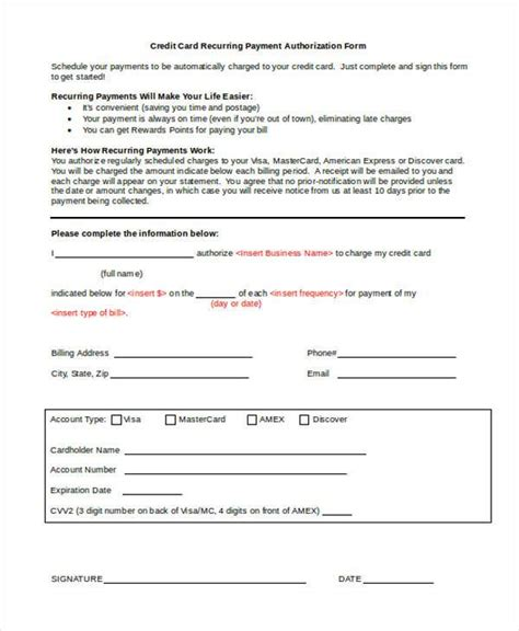 credit card recurring payment authorization form template authorization forms in doc