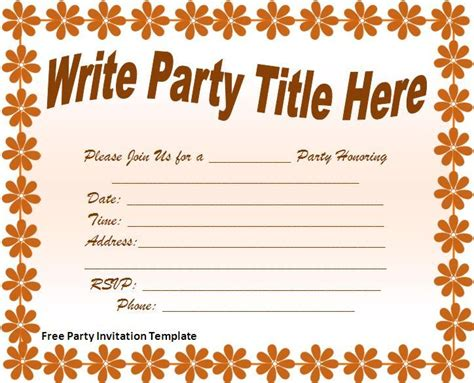 Free Party Invitations Template Best Template Collection Free Printable Birthday Invitation Templates For Word