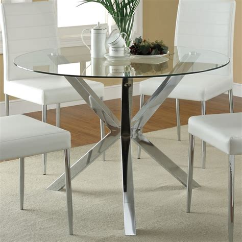 DreamFurniture.com   120760 Round Glass Top Dining Table