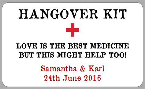 Hangover Kit Label Template   printable label templates