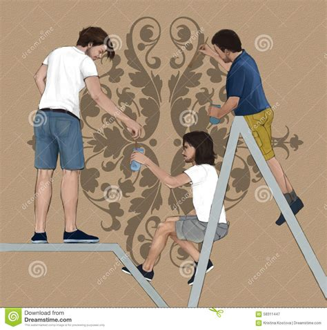 professional decorators three professional decorators painting decorating a intern wall with a floral element stock