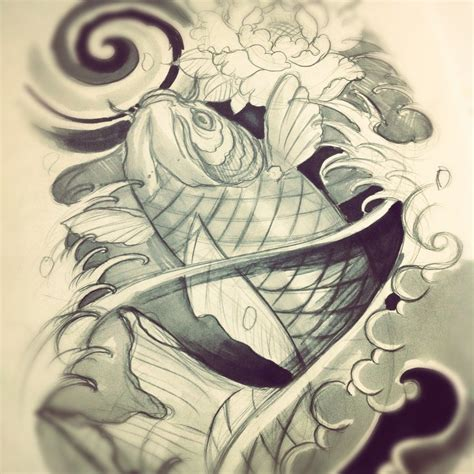 Kaos Minimalis Buddhism Lotus koi fish leg sleeve sketch by willemxsm on deviantart