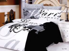 Eiffel Tower Duvet Set Black And White Paris Themed Bedding