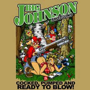 Big johnson shotguns mens t shirt m l xl 2xl 3xl funny shirt says big