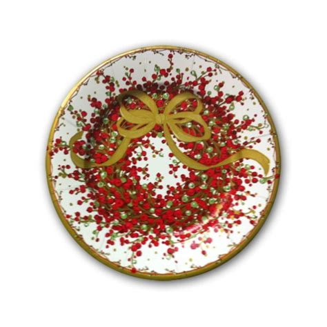 caspari pepperberry christmas wreath paper dinner plates